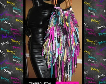 Hippie Fringe Handbag, Ultra Fringe, One Of A Kind ,Custom Made, Purse ,Tote,Multi Bright Colored