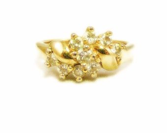 Gorgeous Gold Tone and Crystal Clear Engagement Style Cluster Ring - Size 8