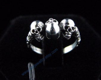Steampunk 3pcs  small skull ring Three's Company skull ring---925silver ring