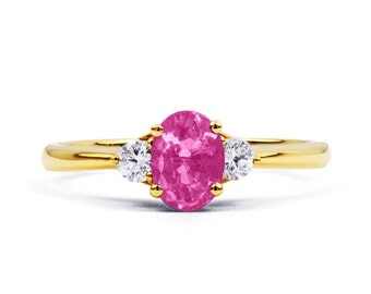Paragon Natural Pink Sapphire and Diamond Engagement Ring in 18ct Yellow Gold