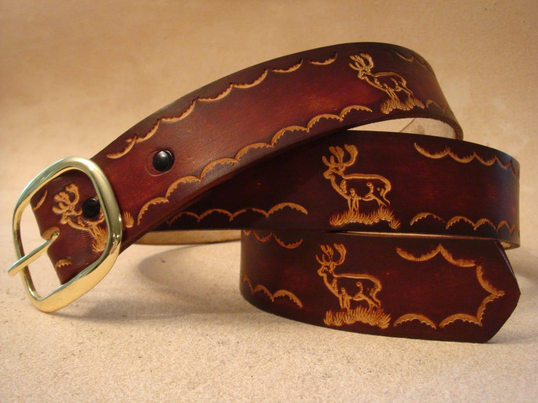 tooled leather belt custom leather belt personalized