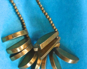 """Spectacular African Brass """"wedges"""" Necklace!"""