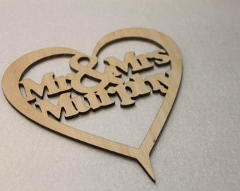 Custom Personalised Mr & Mrs Wedding CakeTopper Wooden Heart With Names Laser Cut