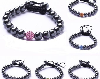 Hematite Shamballa Bracelet, 10MM Hematite Ball Beads Macrame Bracelet, 10mm Pave Bead