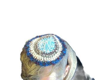 Blue Knit Kippah, Crochet Wool Kippah, Shabbat Kippah, Wool Yarmulke