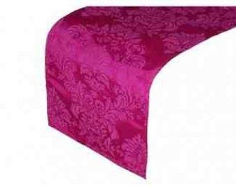 Fushia Pink Damask Table Runner