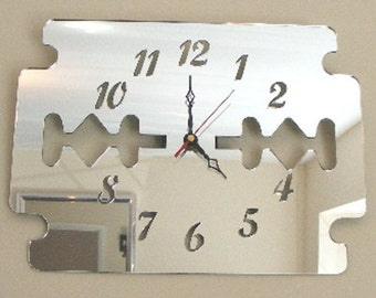 Razor Blade Clock Mirror - 2 Sizes Available