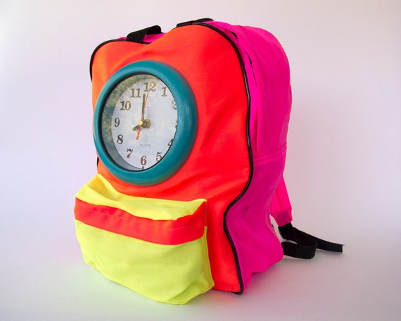 Vintage 90s Neon Clock Backpack // 1990s Color Block Dayglo