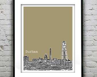 Durham North Carolina Poster Art Print City Skyline NC