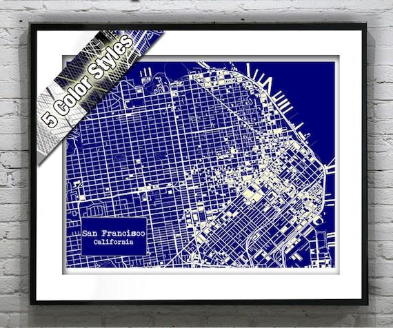 San Francisco California Blueprint Map Poster Art Print