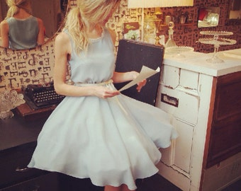 BELLE - Baby blue bridesmaid dress, full circle skirt, 50's style petticoat, lace & ribbon - made to order in the UK