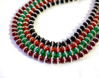 Agate With Rhinestones 8mm 49 Pieces 16 Inch Per Strand