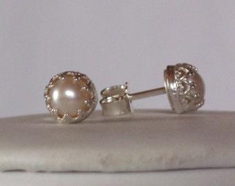 Freshwater Pearl earrings - stud earrings  - Zuchtperlen Ohrringe - Freshwater Pearl earrings - stud - vintage - bridal - Sterling Silver