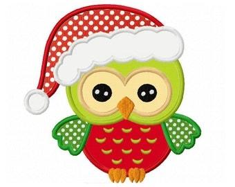 Christmas Owl Applique Machine Embroidery Design NO:0101