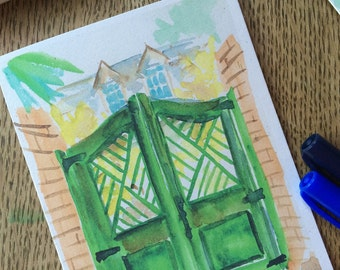 Watercolor Notecard - Gate - Cotton District, Starkville Mississippi