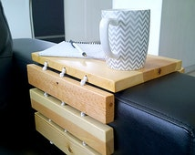 Couch Tray Made From Reclaimed Wood, Salvaged Wood Couch Arm Wrap Table, Handmade Arm Rest Table Tray