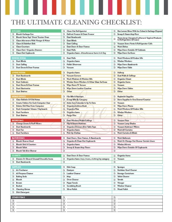 Dynamic image pertaining to cleaning checklist printables