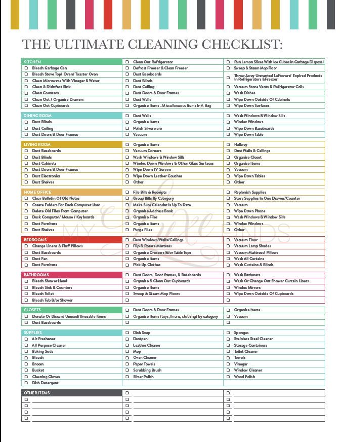 The Ultimate House Cleaning Checklist Printable PDF