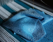 Electric Blue Silver Snowflake Twill Tencel Scarf
