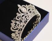 Bride Round Wedding Tiara --Handmade Crystal Bridal Tiara Royal Rhinestone Tiara Diamante Crown Tiara