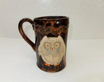 Large Owl Coffee Mug, Hand Built Ceramic Stoneware Mug