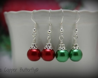 STERLING SILVER Christmas Ornament Earrings hallmarked 925 - Your Choice Red or Green Glass Pearl Earrings - 61300139