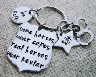 Police jewelry-law enforcement-Some heroes wear capes, real heroes wear kevlar-Hero Key Chain-Police gift- thin blue line-academy graduation