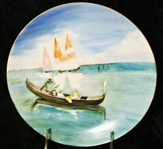 Antique Artist Signed Hand Painted Porcelain 1900s Austria Austrian Plate Gondola Boating Sailboats Lake Scenic Sea Nature Summer Cottage