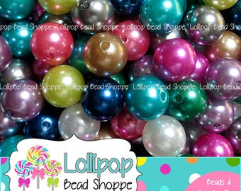 14mm Acrylic Pearls, Faux Pearl Beads, Solid Round Imitation Pearls, Plain Bubblegum Beads, Bubble Gum Beads, Pearlized Beads, Pkg of 20