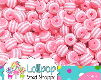 PINK Striped Beads 8mm Stripe Resin Beads Round Gum Ball Beads 50-ct Plastic Stripes Bubblegum Beads Bubble Gum Bead Bottlecap Beads