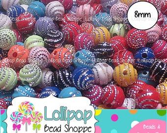 8mm SWIRL Beads Acrylic Beads Metallic Silver Bling Spirals MIX 50-ct Round Beads Plastic Sparkle Beads Bottlecap Beads Bubblegum Beads