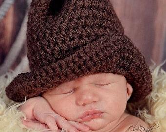Crochet Boot Scoot'n Cowboy Hat (sizes newborn to 12 months)
