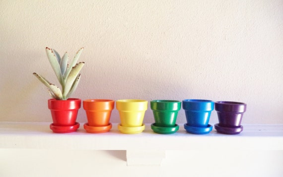Rainbow mini planters, 2 inch succulent pots, roygbiv, rainbow gift, pride