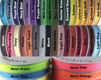 "3/8""  Grosgrain Ribbon 50 Yards 39 Solid Color ""PICK YOUR COLORS"" 100% polyester"