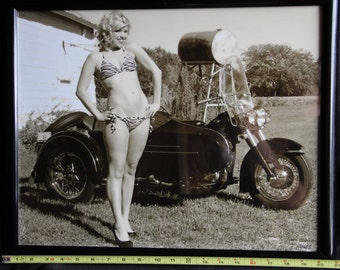 16x20 inch framed poster of a bikini babe on an old Harley Panhead