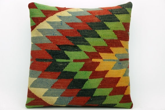 multi color pillow with geometric pattern