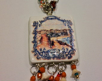 Beautiful necklace, with replica of tile painel from Ericeira.