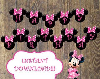 Instant Download Minnie Mouse Birthday Party Banner