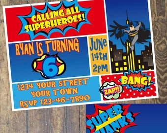 Superhero Invitation - Birthday Party - custom digital download Copy