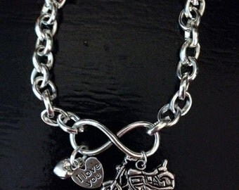 Infinity Bracelets with a heart and Harley motorcycle