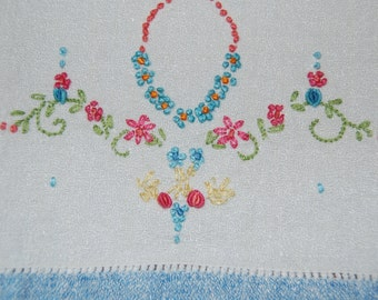 Lovely Vintage  Finger Towel, Hand Towel, Hand Embroidered in Blue and White