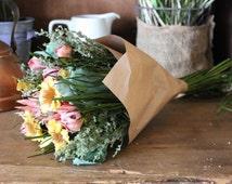 1 Bouquet Sunflower Yellow Pink Dried Floral Wholesale Arrangement  Bushel Basket Crafts DIY Paper Grass Botanical Shabby Cottage Wedding