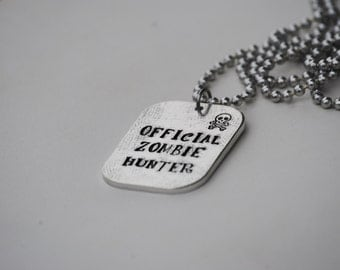Official Zombie Hunter Hand Stamped Necklace on Ball Chain
