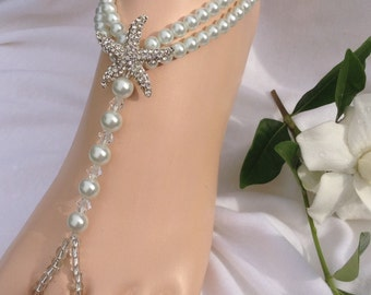 Starfish Barefoot Sandals White Pearls Wedding Foot Jewelry Bridal Barefoot Sandles Beach Wedding Sandals