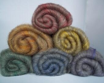 Carded Batts, Rainbow Spinning Fiber, Shetland, Bamboo, 150g