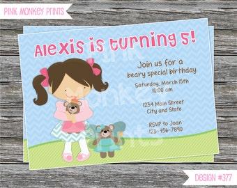 DIY - Girl Teddy Bear Birthday Party Invitation #477- Coordinating Items Available