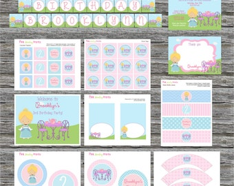DIY - Girl Princess Tea Party Birthday Party Pack #407- Coordinating Items Available