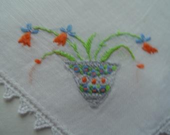 Vintage Women's White Linen Handkerchief Hankie With Embroidered Orange Flowers