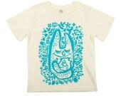 Organic cotton kids T-shirt, woodland creature, water based ink