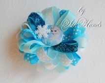 Frozen Bow - - Over the Top Bow - Elsa party - Girls Hair Bows